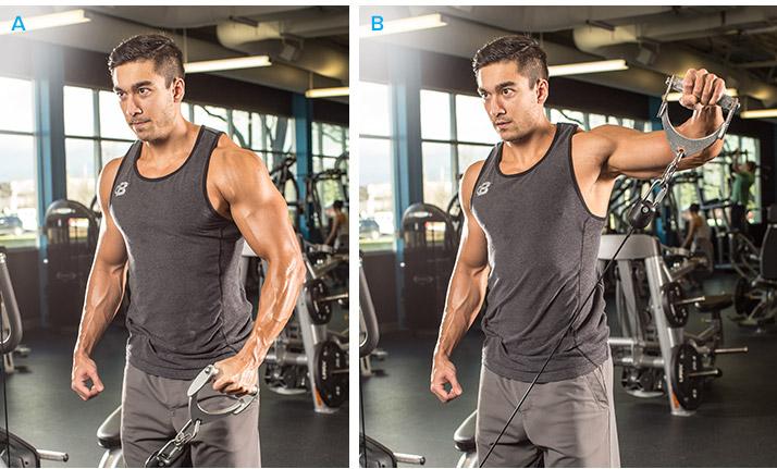 động tác đẩy tạ tập cơ vai bạn nên cố định khuỷu tay