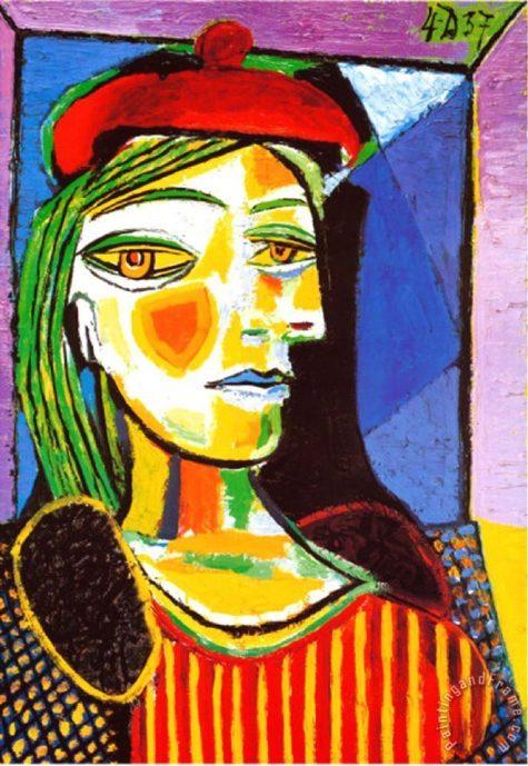 """Bức họa """" Cô gái cùng chiếc mũ beret đỏ."""" của Picasso. (Ảnh: Painting and Frame)"""