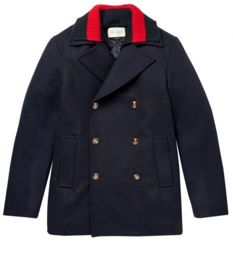 Strip-Trimmed Wool Peacoat có giá 2.405 từ thương hiệu thời trang danh giá Gucci