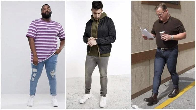 Nếu đã chọn skinny jeans thì hãy nhớ phối cùng kiểu áo oversized hoặc mặc layering để che bớt yếu điểm trên cơ thể (hình 1 và 2 tính từ bên trái), tránh đóng thùng vì điều đó gây mất cân đối trong thẩm mỹ (hình 3)