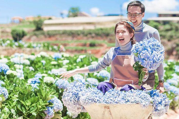 Rất nhiều bạn trẻ lựa chọn khám phá vườn hoa cẩm tú cầu để lưu giữ những khoảng khắc ngọt ngào trong tình yêu của mình.