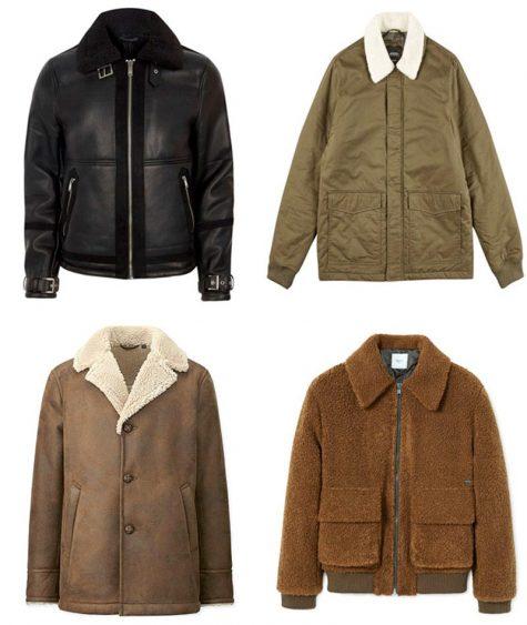 Áo khoác Shearling lông cừu - Hình: River Island, Burton, Uniqlo, Mango