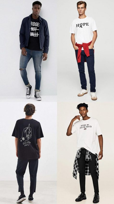 Áo thun slogan -Hình: ASOS, Mango Man, Urban Outfitter, Zara