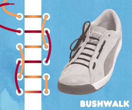 Kiểu buộc giày Bushwalk.