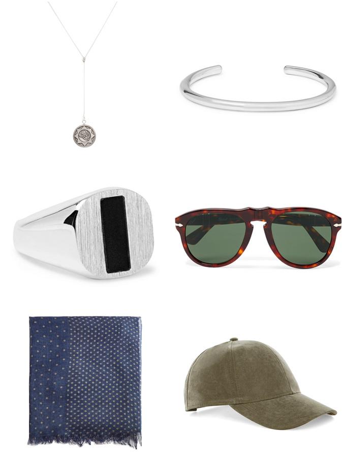 chiếc mũ, túi đeo hông và kính mát kiến