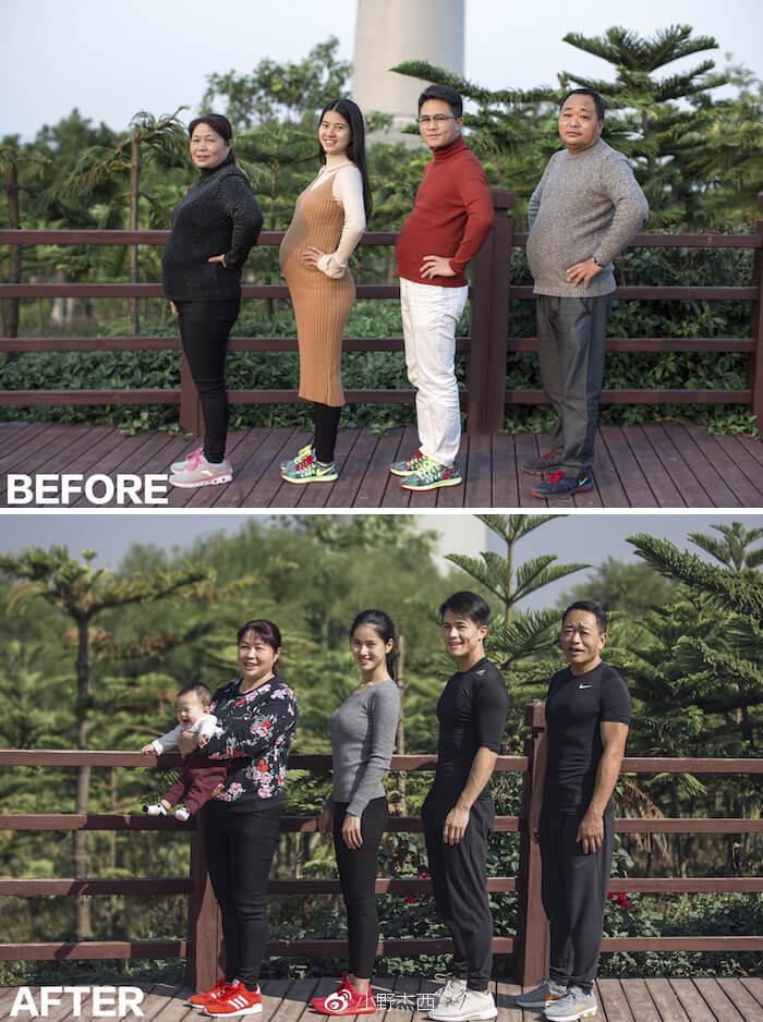 Sau 6 tháng luyện tập, cả gia đình Jesse đã lột xác hoàn toàn. Hai người đàn ông đã thay thế cái bụng bia bằng cơ bụng 6 múi. Vợ Jesse lấy lại vóc dáng thon gọn sau sinh, còn mẹ anh thì giảm được cân và sức khỏe tốt hơn rất nhiều.