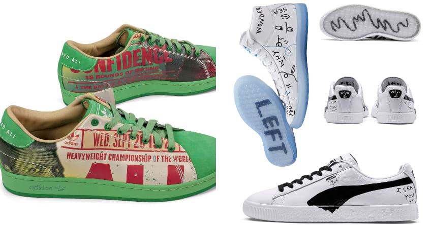 hai đôi giày thể thao collab Cey Adams x Adidas, Ali Classic Superstar II và đôi Shantell Martin x Puma, Clyde