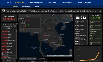 Giao diện bản đồ Covid-19 củaĐại học Johns Hopkins.