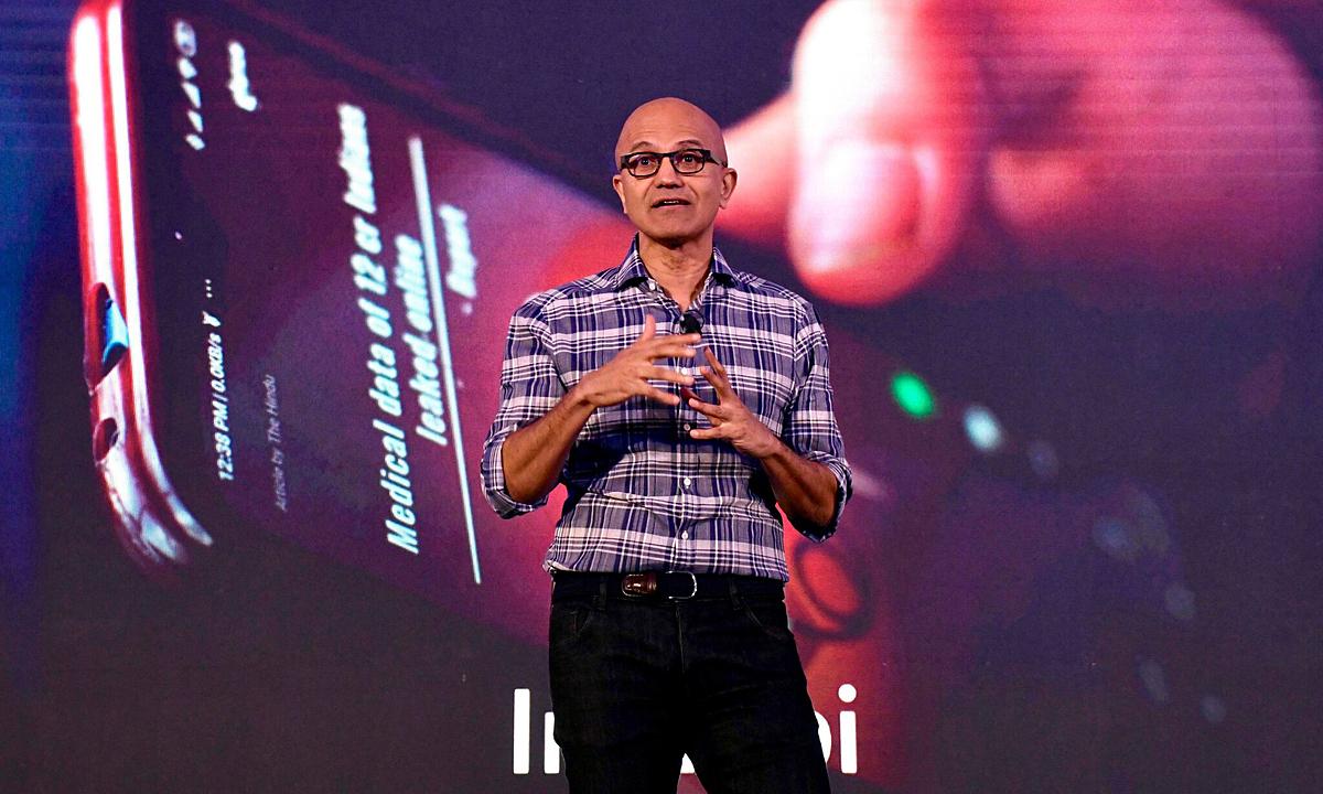 CEO Microsoft, Satya Nadella. Ảnh: AFP